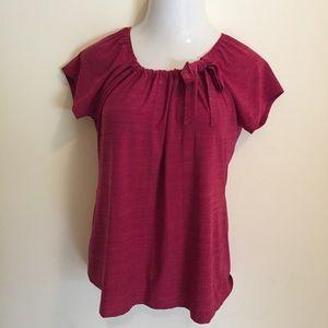 Liz McCoy Women's Blouse Red XL Cap Sleeve